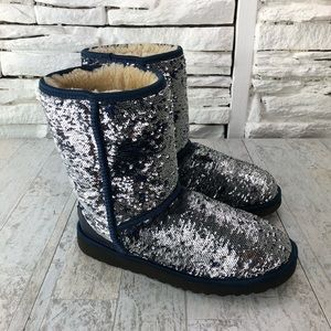 UGG Sequin Reversible Winter Boot Navy Silver